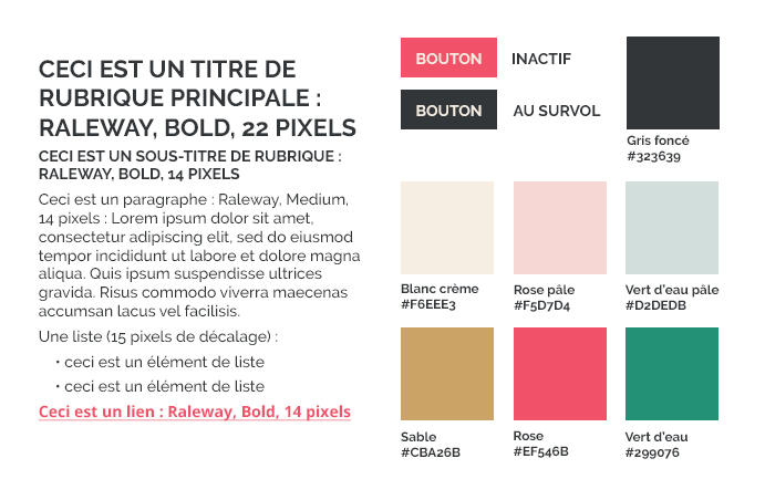 styleguide présentant les typographies et les couleurs utilisées sur le site